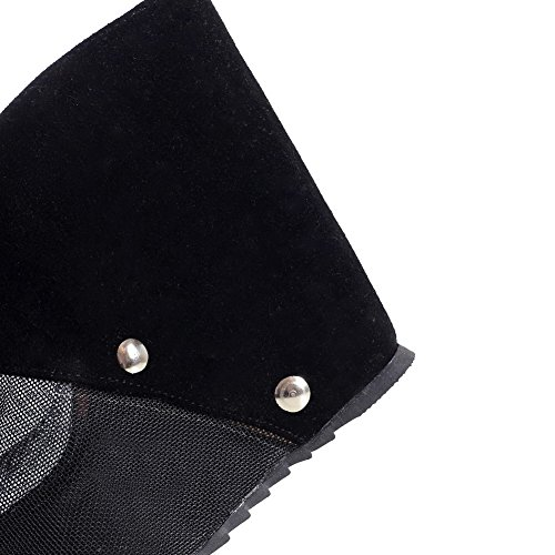 Black Peep On Slippers AmoonyFashion Heels Solid Womens Pull Toe High zqOwTK5O