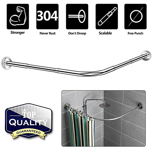 Curved Corner Shower Curtain Rod,L Shaped - Never Rust Stainless Steel,Adjustable 29.52