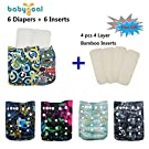 Babygoal Baby Reuseable Washable Pocket Cloth Diaper 6pcs+ 6 Inserts 6fb18