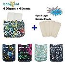 Babygoal Baby Reuseable Washable Pocket Cloth Diaper 6pcs+ 6 Inserts 6fb18