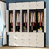 Yigui Portable Clothes Closet Wardrobe Bedroom Armoire Dresser Cube Storage Organizer,Space Saving,Ideal Storage Organizer Cube For Books, Toys, Towels,30Cubes&5 Hanging Sections