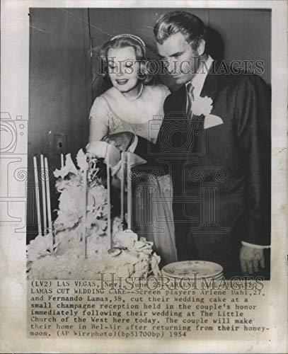 Historic Images - 1954 Vintage Press Photo Actors Arlene Dahl & Fernando Lamas Las Vegas Wedding Reception
