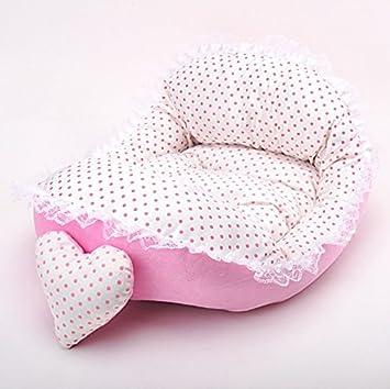 JinZhiCheng Cama de encaje cálido para mascotas, cama de princesa, cama suave, cama para perro (rosa): Amazon.es: Productos para mascotas