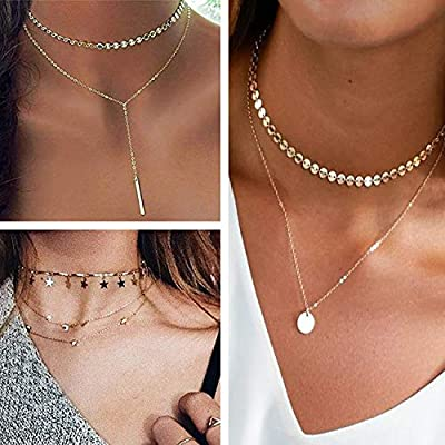 Meangel 11PCS Layered Choker Necklace for Women Girls Sexy Coin Star Multilayer Chain Necklaces Set Adjustable