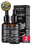 BEST DEAL 2 Organic Beard Oil Serum Conditioner For Men Beard Mustaches Growth, Soften, Moisturizing & Strengthen Viking - 100% Pure Natural Ingredients (Super Light Natural Magic Scent)