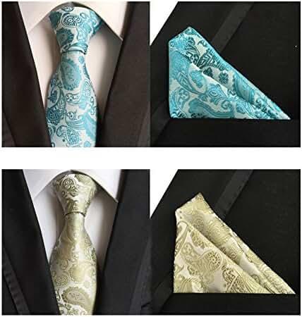 Lot 2 PCS New Mens Necktie Pocket Square Set Extra Long Silk Tie Set t-05
