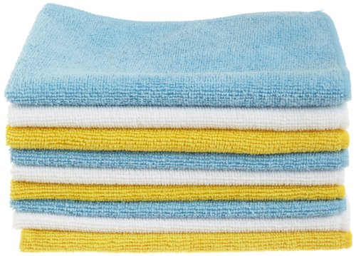 Rags Reusable Cotton Wiping Cloths - AmazonBasics Blue and Yellow Microfiber Cleaning