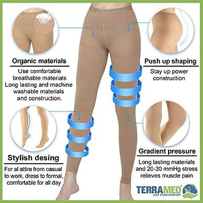 Terramed Advanced Graduated Compression Leggings Women - 20-30 mmHg Footless Microfiber Leggings Tights (Beige, Small): Health & Personal Care