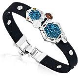 Bracelet Mixte en cuir noir et Cristal de Swarovski Element Bleu et Plaqué Rhodium -Blue Pearls-CRY E108 J