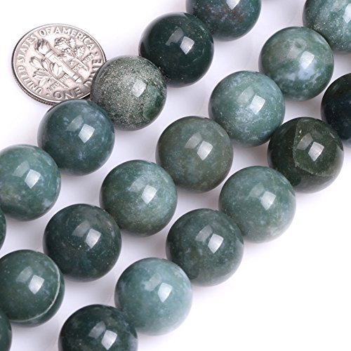 GEM-inside Moss Agate Gemstone Loose Beads 14MM Round Crystal Energy Stone Power For Jewelry Making 15