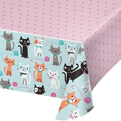 Creative Converting 329399 All Over Print Plastic Tablecover, Purr-Fect Party