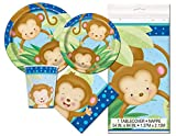 Boy Monkey Baby Shower Deluxe Party Pack Serves 16 Plates Cups Napkins & Tablecloth