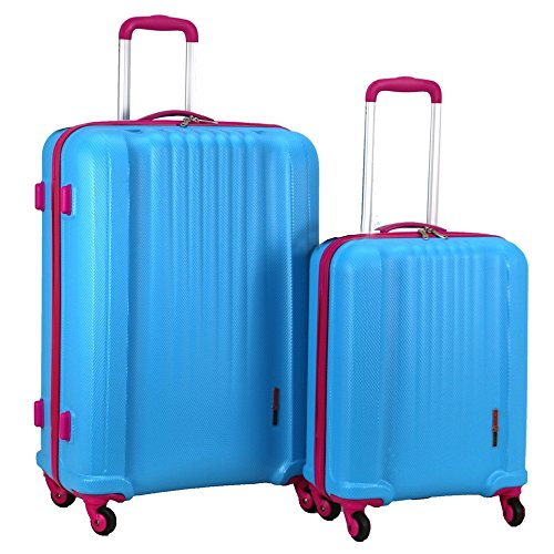 Swiss Case 4 Wheel Spinner EZ2C 2Pc Strong ABS Suitcase/Luggage Set Blue/Pink