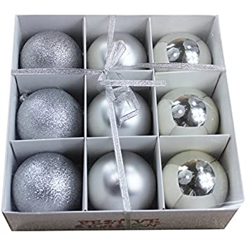 Festive Season Silver Shatterproof Christmas Balls Ornaments, Tree Decorations (Set of 9, 80mm)