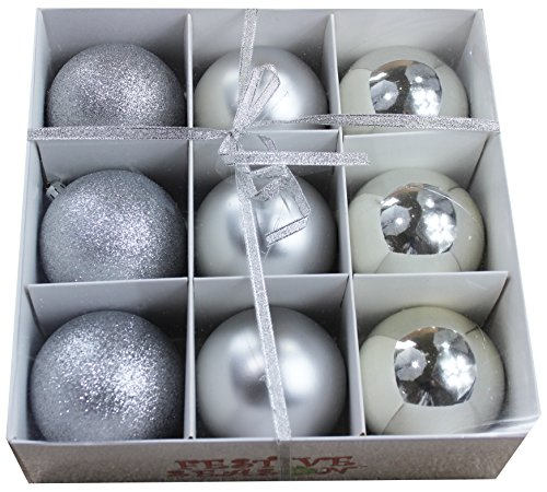 r Shatterproof Christmas Balls Ornaments, Tree Decorations (Set of 9, 80mm) (Silver Matte Ornaments)
