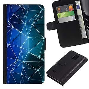 LASTONE PHONE CASE / Lujo Billetera de Cuero Caso del tirón Titular de la tarjeta Flip Carcasa Funda para Samsung Galaxy Note 4 SM-N910 / Shapes Blue Stars Lights Night