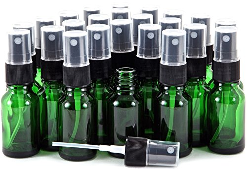 Vivaplex, 24, Green, 15 ml (1/2 oz) Glass Bottles, with Black Fine Mist Sprayer's