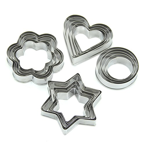Wrisky Biscuit Mold Fruit Cutter Cookie Sporting Star Heart Flower Shape Stainless 20pc