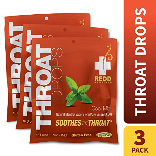 Redd Remedies – Throat Drops, Herbal Cough Drops to Soothe and Support Healthy Breathing, Cool Mint, 16 Servings (3 Pack)