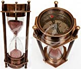 5'' DECORATIVE BRASS SAND TIMER HOURGLASS WITH ANTIQUE MARITIME BRASS COMPASS