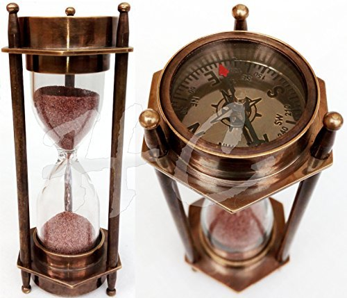 5'' DECORATIVE BRASS SAND TIMER HOURGLASS WITH ANTIQUE MARITIME BRASS COMPASS by THORINSTRUMENTS (with device)
