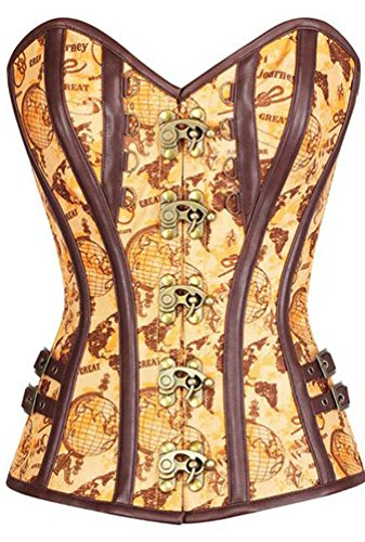 Steampunk Come Bustier Donna Corset Yijee Jacquard Corsetto Gothic Immagine EAwgqp