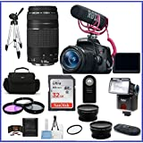 Canon EOS Rebel T6i DSLR Camera with 18-55mm Lens Video Creator Kit & EF 75-300mm f/4-5.6 III Lenses+ Telephoto & Wide Angle Lenses + more ...