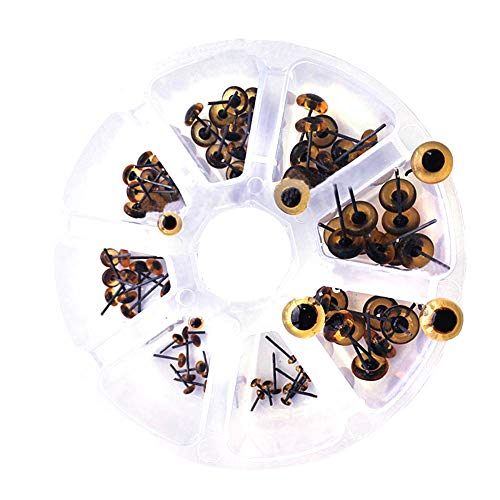 BESTCYC 1Box(80pcs) 3-10cm 8Size Light Amber Mini Glass Eyes kits for Needle Felting Bears Dolls Decoys Sewing ()