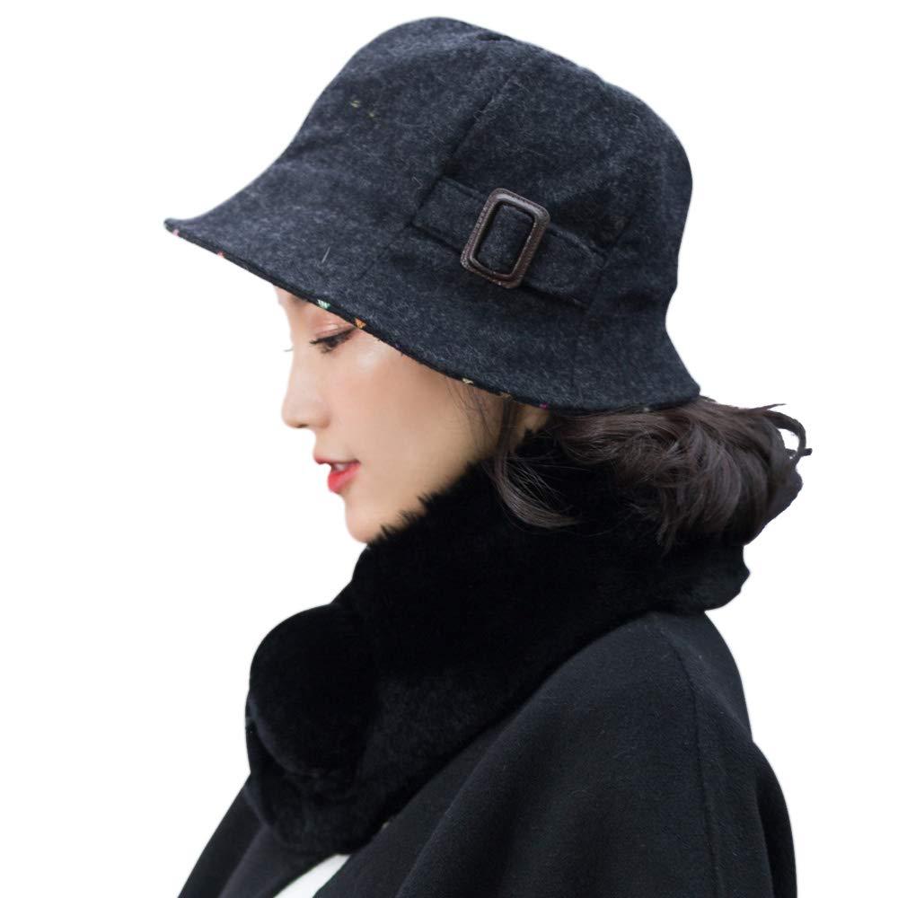 677888 Winter Hat for Women Basin Hat Fisherman Hat Female Autumn and Winter Korean Version of The British Fashion Elegant Hat Wool Adjustable