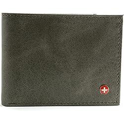 Alpine Swiss Men's Genuine Leather Wallet Slim Flip-out Bifold Grey