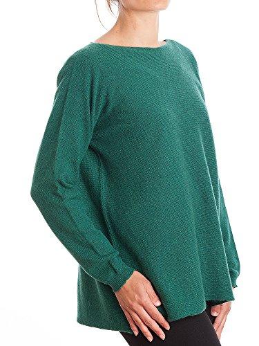 Pull Piane Dalle 100 Donna cashmere Maxi Verde Cashmere wrtdnqpr