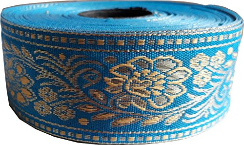 KVR Nylon Silk Woven Jacquard Embroidered ribbon Lace 16 yard in a roll, 1.3 inch wide for art craft decoration and gift packing (Combo-7)