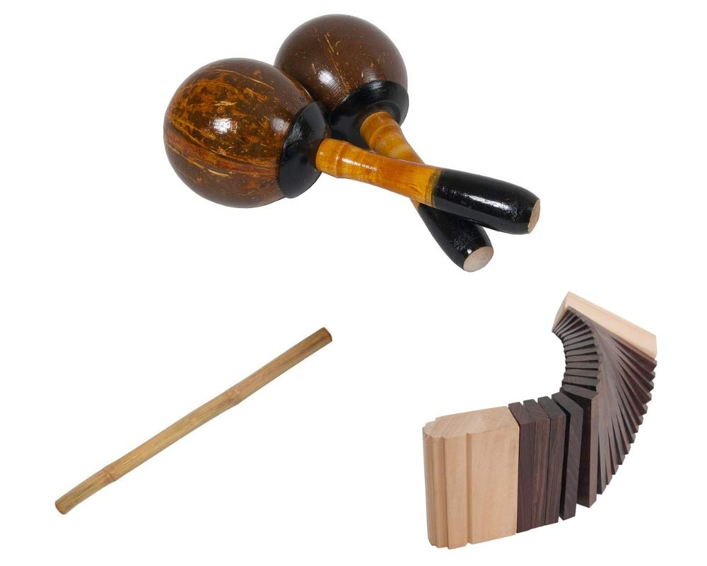 Coconut Maracas Package Includes: Hand Percussion Shaker - Pair + Kokinko Wooden Percussion Wood Sound Effects Scraper + Rain Stick 39'' Shaker Percussion Bamboo Sticks Instruments