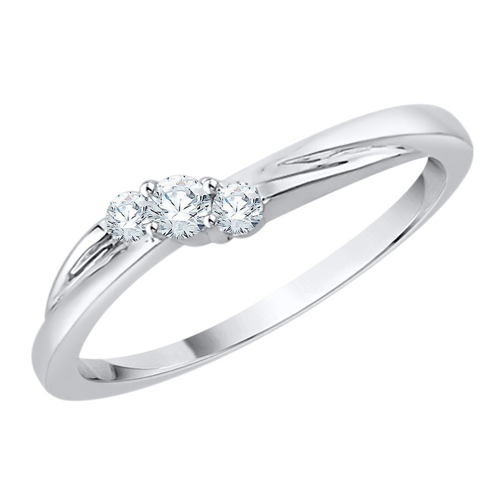 3 Diamond Promise Ring in Sterling Silver (1/6 cttw) (GH-Color, I2/I3-Clarity) (Size-3.5)
