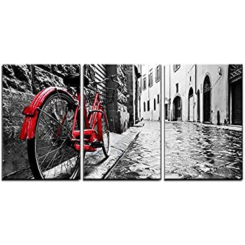 wall26 3 Piece Canvas Wall Art - Retro Vintage Red Bike on Cobblestone Street in The Old Town - Modern Home Decor Stretched and Framed Ready to Hang - 16