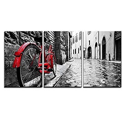 3 Piece Canvas Wall Art - Retro Vintage Red Bike on Cobblestone Street in The Old Town - Modern Home Art Stretched and Framed Ready to Hang - 24