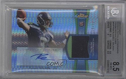 (Russell Wilson BGS GRADED 8.5 #10/10 (Football Card) 2012 Topps Finest - Rookie Autographed Patch - Prism Refractor [Autographed] #RAP-RW )