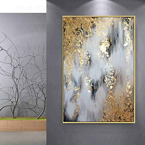 100% Hand-Painted Oil Paintings,Botanical Style, Abstract Gold Leaf Tree, Paintings On Canvas Art, Large Size Home Decor Wall Art, For Bedroom Living Room Bedside Restaurant Painting Without Frame,120