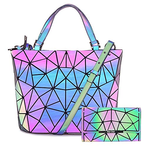 HotOne Geometric Purse Holographic Purse and Handbag Color Changes Luminous Purse and Wallet Set for Women (Dot Zip Purse)