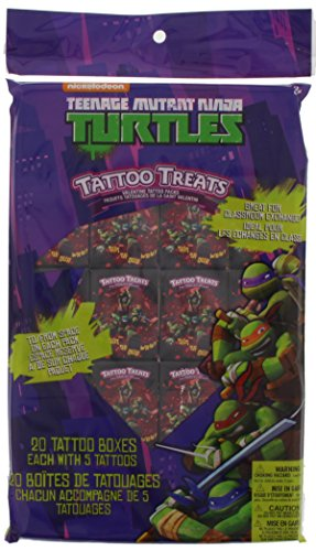 Ninja Turtles Tattoo Treats - Valentine Cards - 20 Boxes with 5 Tattoos each - Leonardo Donatello Michelangelo Raphael (Ninja Turtle Valentine compare prices)