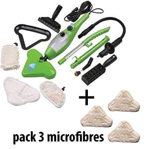H2O Mop X5 - Limpiadora a vapor ultra ligera, cepillo portátil 5 en 1, multiusos (incluye 3 paños de microfibras)