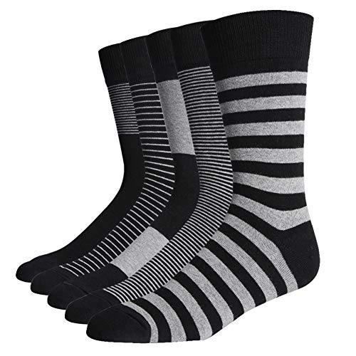 - SOXART Men's Business Dress Socks 5-Pack Formal Black Gray Suit Office Striped Style (5 Pairs Striped Style, L: US Shoe Size 8-12 / Sock Size 10-13)