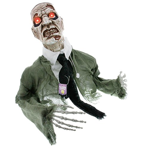 Halloween Haunters Animated Skeleton Zombie Groundbreaker Graveyard Prop Decoration - Moving Head & Arms, Screams, LED Eyes - Battery Operated