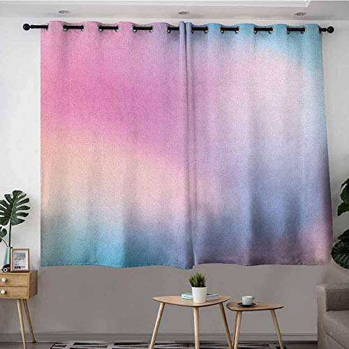 VIVIDX Sliding Door Curtains,Pastel Abstract Blurry Colors Composition Sweet Daydream Fantasy Miscellaneous,Insulated with Grommet Curtains for Bedroom,W55x39L Pink Aqua Peach White ()