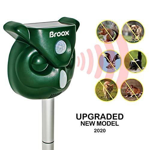 Broox Solar Animal Repeller, Waterproof, Ultrasonic Animal Repellent Outdoor, Flashing Light, Motion Detector, Dog, Cat Repellent Outdoor, Squirrel, Raccoon, Skunk, Rabbit, Rat, Mole, Deer, Birds