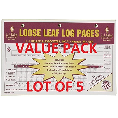 (LOT OF 5 JJ KELLER 13-MP LOOSE LEAF DELUXE DUPLICATE DAILY LOG (613-MP))