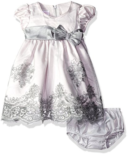 Bonnie Baby Girls' Short Sleeve Striped Plaid Organza Party Dress with Panty,Grey,24 -