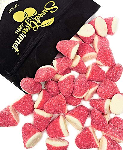 SweetGourmet Strawberry Gummi Drops | Pink-White | Sugar Strawberry Puffs Candy | 2 pounds ()