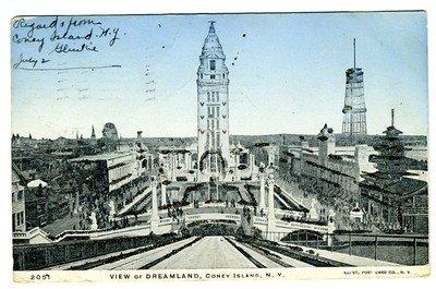 Island Coney Dreamland (View of Dreamland Coney Island New York Postcard 1906 Sparkles Undivided Back)
