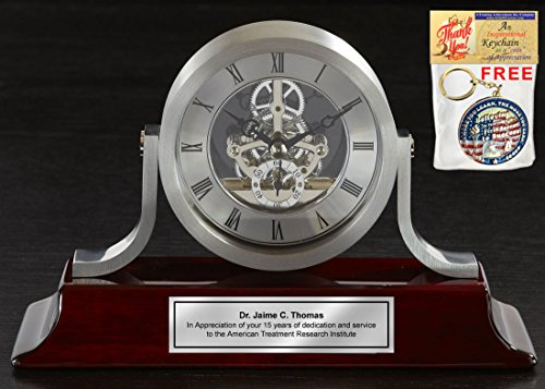 Personalized Engraved Silver Da Vinci Dial Cherry Mantle Desk Wood Clock. This anniversary gift clock, employee service award and retirement gift includes a personalized Silver Engraving Plate.